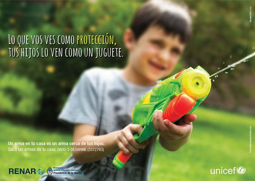 El Ministerio y UNICEF lanzaron campaña para alertar sobre el riesgo que representan las armas en los hogares